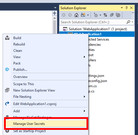 Managing user secrets in Visual Studio