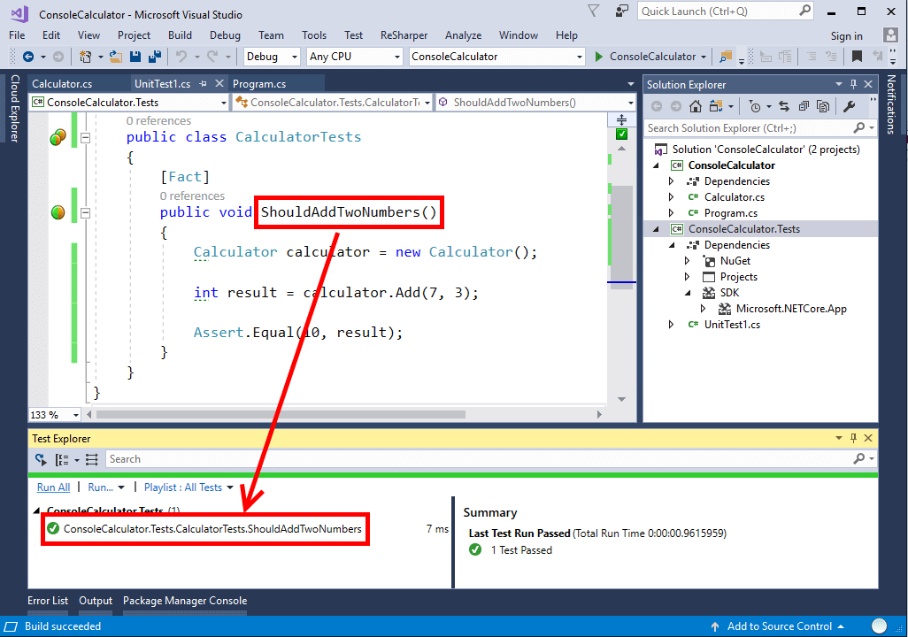 Running xUnit tests in Visual Studio Test Explorer